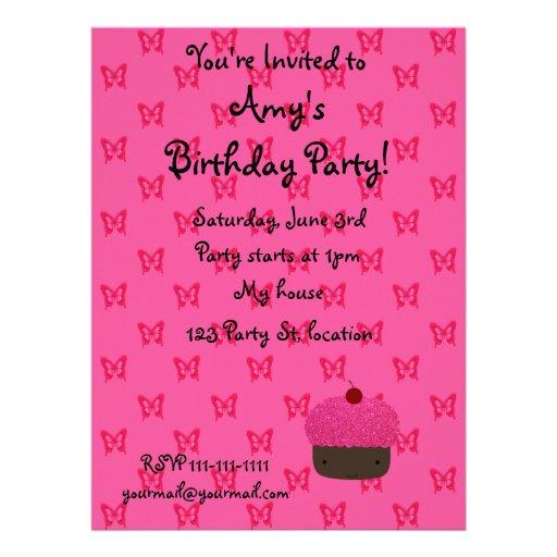 Pink glitter cupcake pink butterflies custom invitation