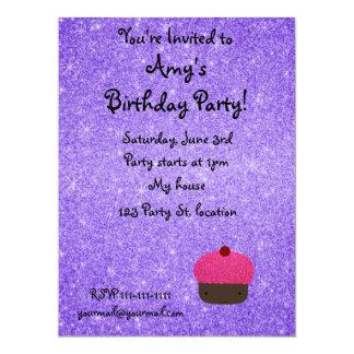 Pink glitter cupcake purple glitter 17 cm x 22 cm invitation card