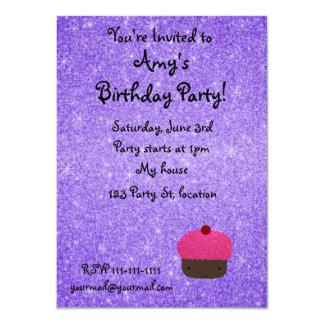Pink glitter cupcake purple glitter 11 cm x 16 cm invitation card