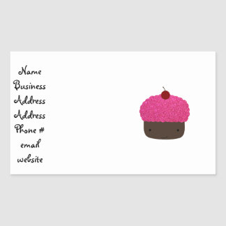 Pink glitter cupcake sticker