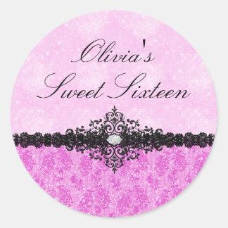 Pink Glitter Damask Sweet 16 Sticker