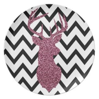 Pink Glitter Deer Chevron Plate