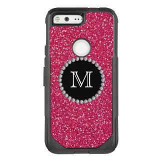Pink Glitter, Diamond, Girly, Monogrammed OtterBox Commuter Google Pixel Case