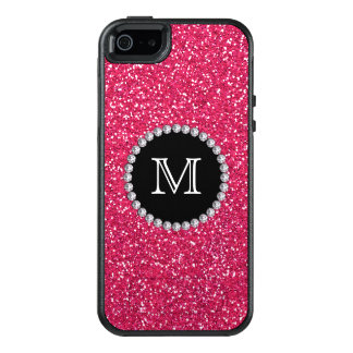Pink Glitter, Diamond, Girly, Monogrammed OtterBox iPhone 5/5s/SE Case