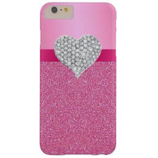 Pink Glitter Diamond Heart iPhone 6 Case