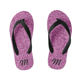 Pink glitter effect kid's thongs