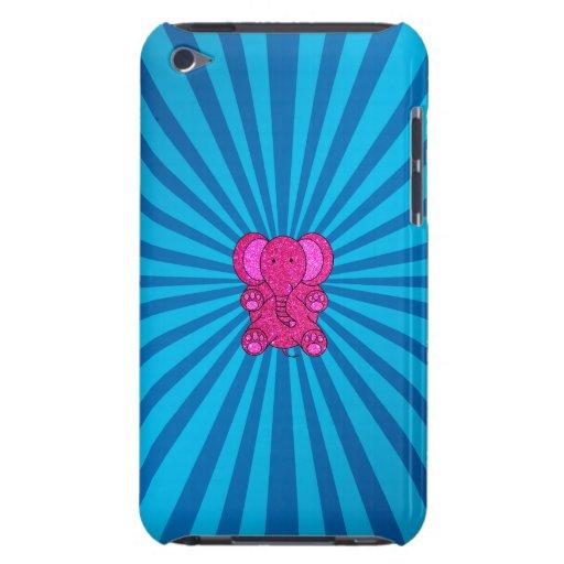 Pink glitter elephant blue sunburst iPod touch Case-Mate case