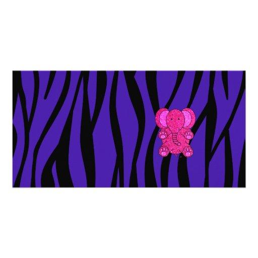 Pink glitter elephant purple zebra stripes photo card