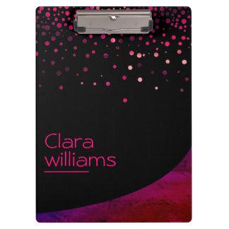 Pink Glitter Faux Sparkle Confetti Modern Clipboard