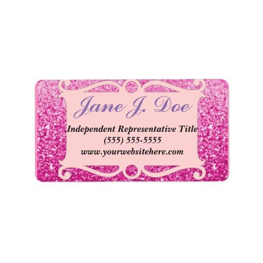 Pink Glitter Frame Brochure Sticker Address Label