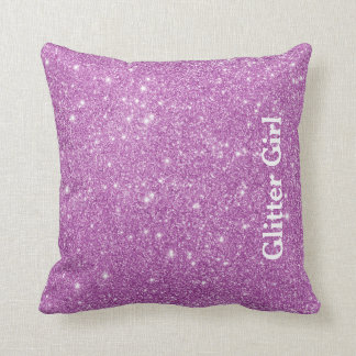 Pink Glitter Girl Show Your Glamours Sparkle Cushion