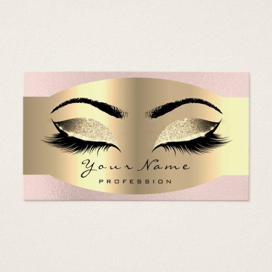 Pink Glitter Gold Makeup Artist Lash Extensi Brows Business Card