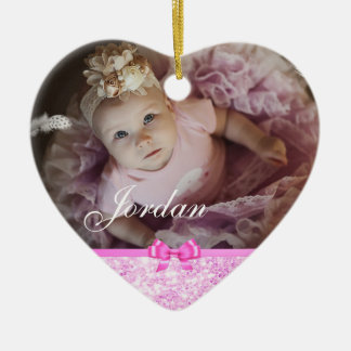 PInk Glitter Heart Baby Photo Christmas Ornament