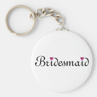 Pink Glitter Heart Personalized Bridesmaid Basic Round Button Key Ring