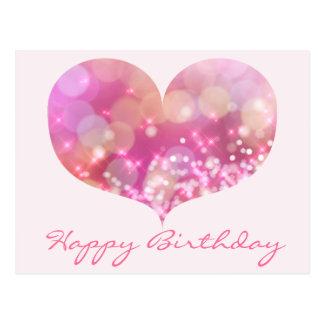 Pink Glitter Hearts   Happy Birthday Postcard