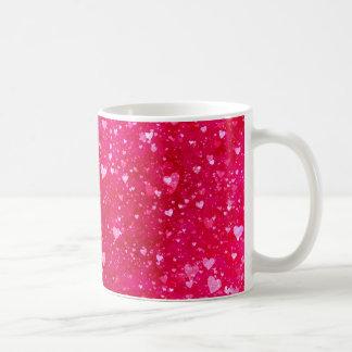 Pink Glitter Hearts Pattern Coffee Mugs