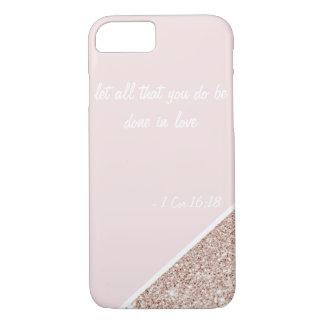Pink glitter i-pod 7 case - 1 Corinthians 16:18