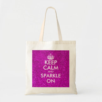 Pink glitter keep calm and sparkle on tote bag