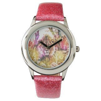 Pink glitter lion watch