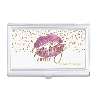 Pink Glitter Lips and Gold Confetti Business Card Holder