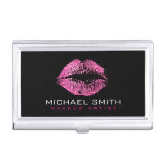 Pink Glitter Lips Business Card Holder