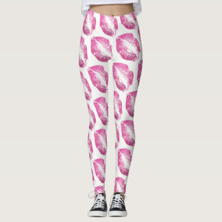Pink Glitter Lips Modern White Leggings