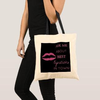 Pink glitter lips print black ask me promotional tote bag