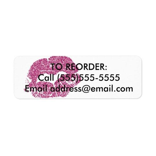 Pink Glitter Lips Reorder Label
