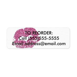 Pink Glitter Lips Reorder Label Return Address Label