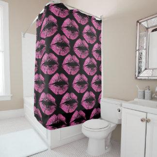 Pink Glitter Lips Shower Curtain