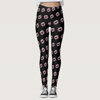 Pink Glitter Lipstick Pattern Leggings