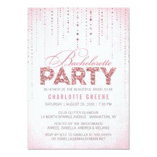 Pink Glitter Look Bachelorette Party Invitation