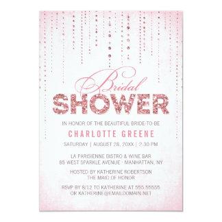 Pink Glitter Look Bridal Shower Invitation