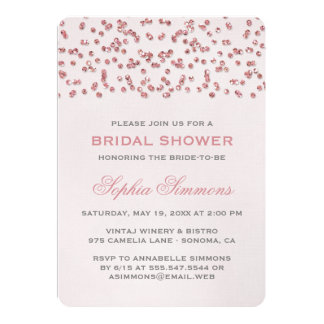 Pink Glitter Look Confetti Bridal Shower Invite