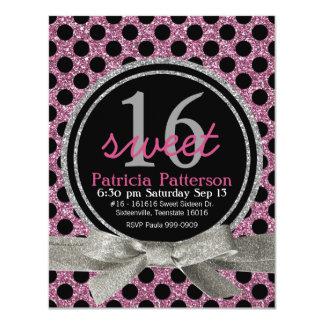 Pink  Glitter Look Polka Dot Sweet 16 Card