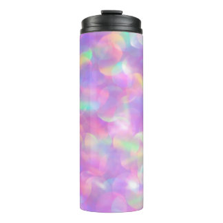 Pink Glitter Luxury Rainbow Light Flecks Sunflecks Thermal Tumbler