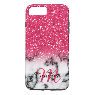 Pink Glitter, Marble with Name and Monogram iPhone 8 Plus/7 Plus Case