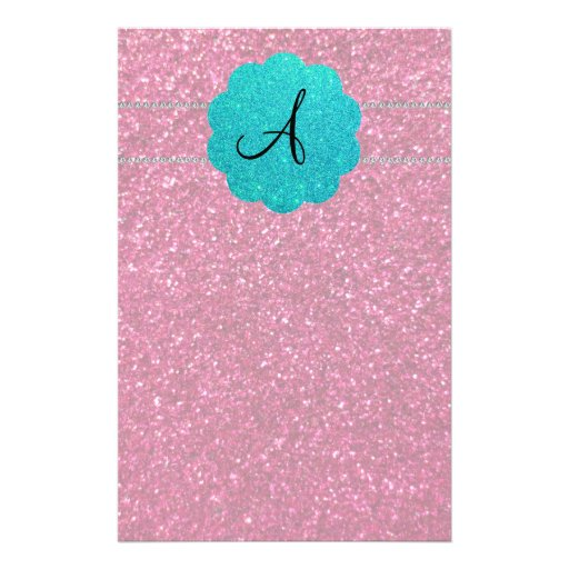 Pink glitter monogram diamonds stationery