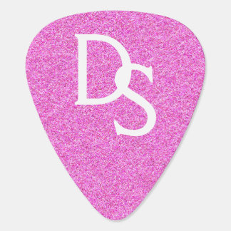 Pink Glitter Monogram Guitar Pick