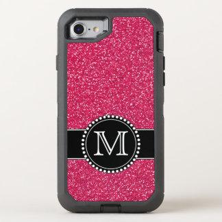 Pink Glitter Monogrammed Otterbox OtterBox Defender iPhone 7 Case