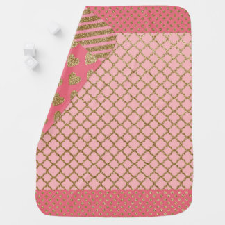 Pink Glitter Multi-Pattern Baby Blanket | Girls