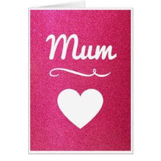 Pink Glitter Mum Card