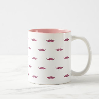 Pink Glitter Mustaches Mugs