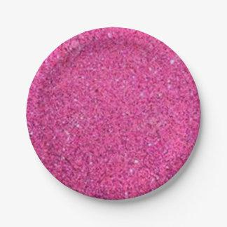 Pink Glitter Paper Plate