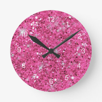 Pink Glitter Pattern Round Clock