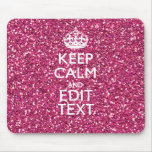 Pink Glitter Personalised KEEP CALM AND Your Text Mousemat