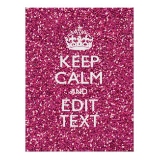 Pink Glitter Personalised KEEP CALM AND Your Text Poster