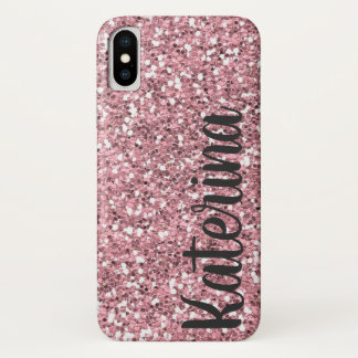 Pink Glitter Personalised with Your Name. iPhone X Case