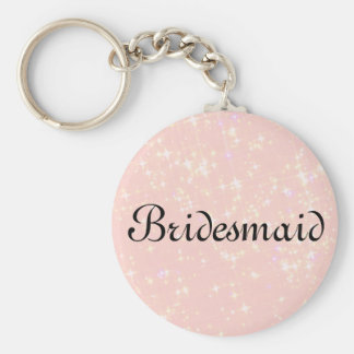 Pink Glitter Personalized Bridesmaid Key Ring
