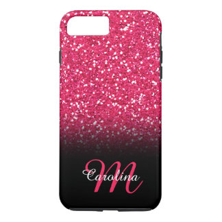 Pink Glitter, Personalized with Name and Monogram iPhone 8 Plus/7 Plus Case